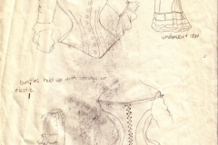 Wedding dress research sketches - graphite on paper