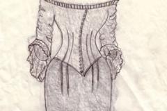 Wedding dress sketch, front  - graphite on paper