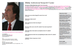 Chris: original persona with UX questions in pink