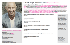Chuck: original persona with UX questions in pink