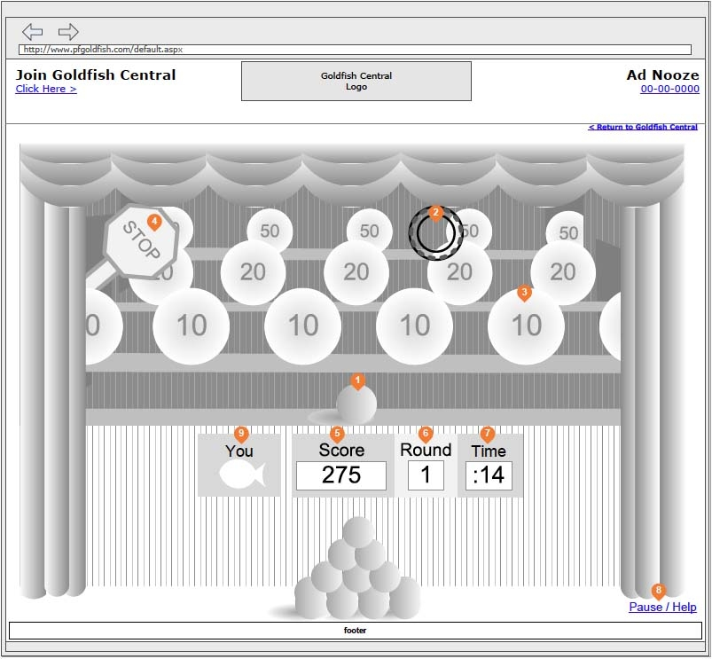 Hi-Res Wireframe - Goldfish Carnival Shooting Gallery