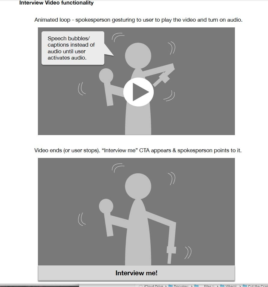 (1 of 3) Conceptual wireframe for an interactive video spokesperson