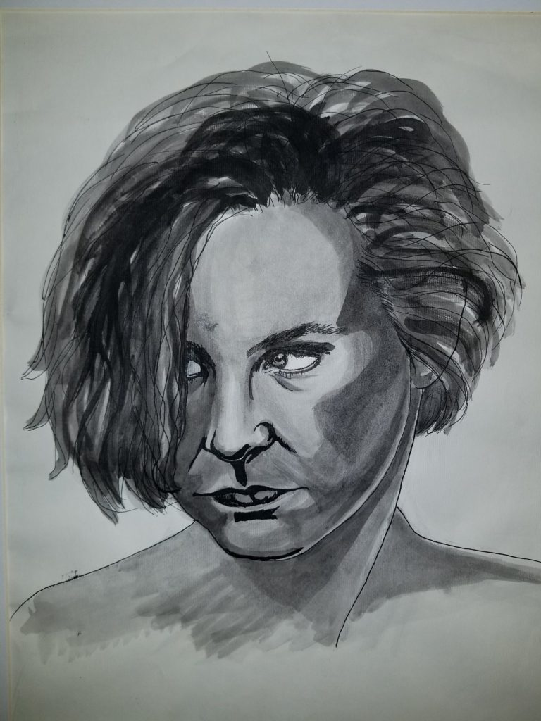 Angry Woman - by Cassie Carter - India ink on paper