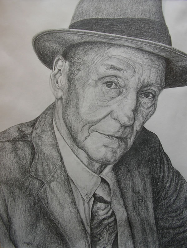 William S. Burroughs - by Cassie Carter - graphite on paper