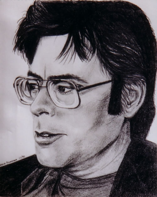 Stephen King - graphite on paper - by Cassie Carter