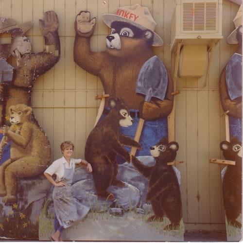 Me with Smokey Bear - acrylic on plywood