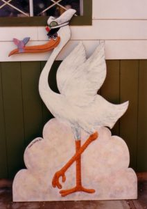 Stork - by Cassie Carter - acrylic on plywood