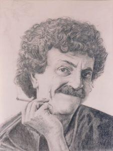Kurt Vonnegut - by Cassie Carter - graphite on paper