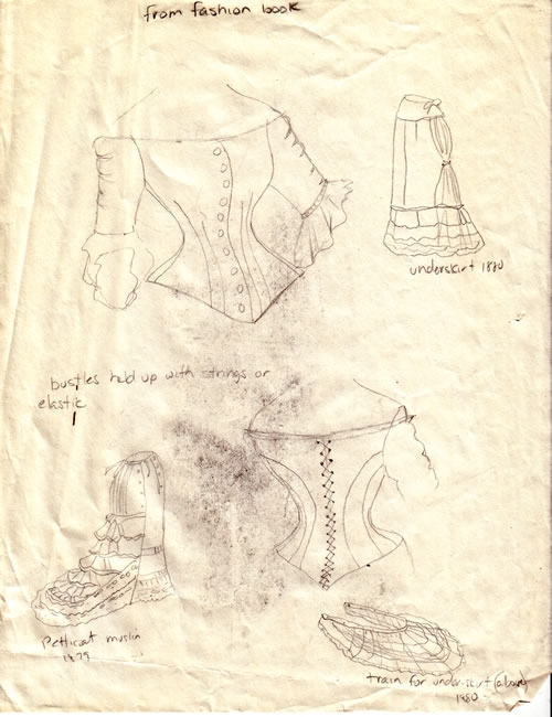 Wedding dress research sketches by Cassie Carter - graphite on paper