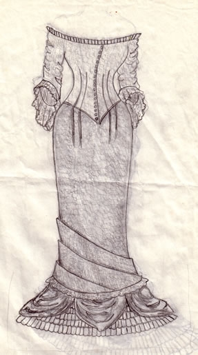 Wedding dress sketch, front - by Cassie Carter - graphite on paper